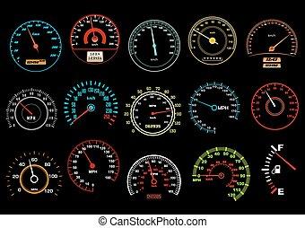 voiture, compteurs vitesse, arrière-plan noir