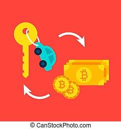 voiture, concept, bitcoin