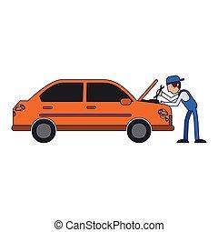 voiture, concept, mécanicien