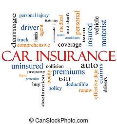 voiture, concept, mot, assurance, nuage