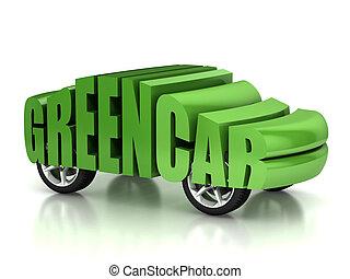 voiture, concept, vert, 3d