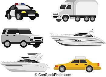 voiture, conception, modèle, illustration, plat