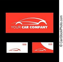 voiture, conception, rouges, logo