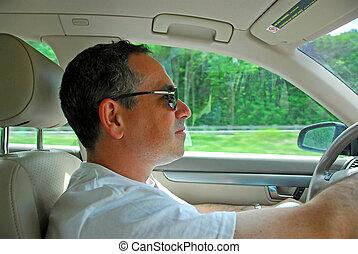 voiture, conduire, homme