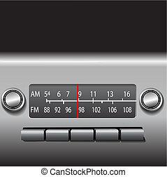 voiture, conduire, radio, tableau bord, temps, fm