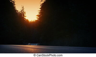 voiture, conduit, par, forêt, coucher soleil, 4x4