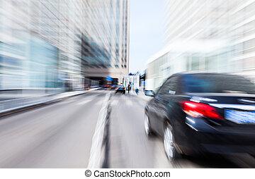 voiture, conduite, dans, les, zone affaires, barbouillage