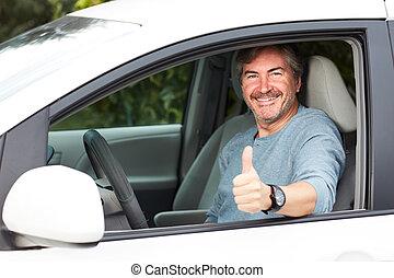 voiture, conduite, homme