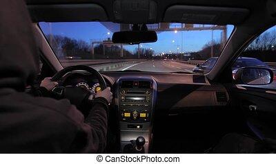 voiture, conduite, nuit