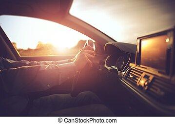 voiture, conduite, soleil