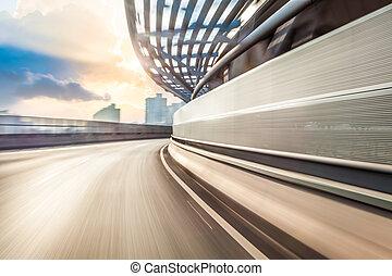 voiture, conduite, sur, route, dans, ville, fond, ternissure mouvement
