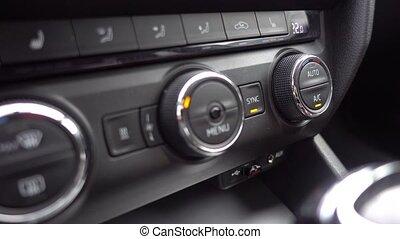 voiture., contrôle, climat, ajustement, température