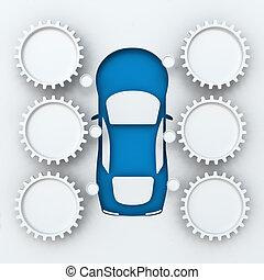 voiture, copyspace, 3d, render, infographics
