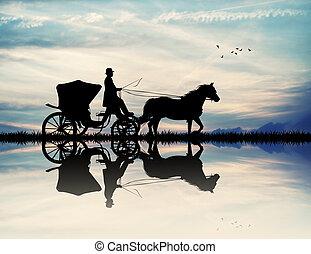 voiture, coucher soleil, cheval