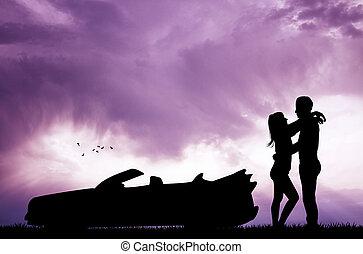 voiture, coucher soleil couples