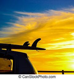 voiture, coucher soleil, planche surf, toit