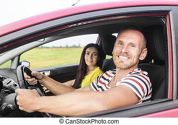 voiture, couple, rouges