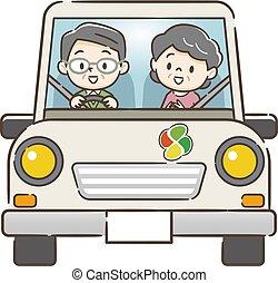 voiture, couples aînés, conduite