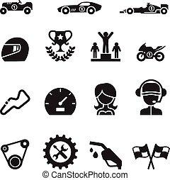 voiture courir, icône, ensemble