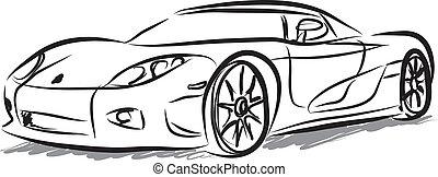 voiture courir, illustration