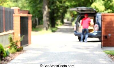 voiture, courrier, prendre, boîte, grand