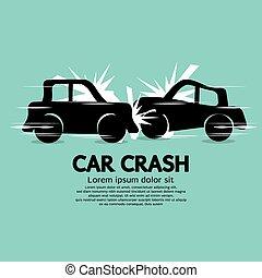 voiture, crash.