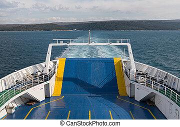 voiture, croatie, côté, arrière, ferry-boat