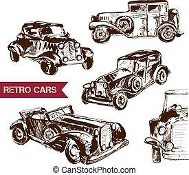 voiture, croquis, design., retro, ton