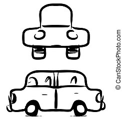 voiture, croquis, dessin animé