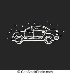 voiture, croquis, icône, -, noir