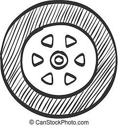 voiture, croquis, -, pneu, icône