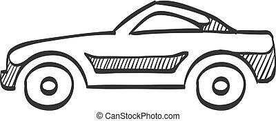 voiture, croquis, sport, -, icône