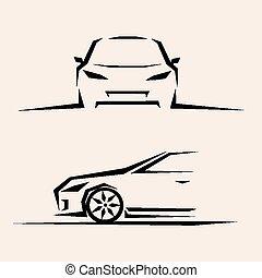voiture, croquis, vecteur, sport