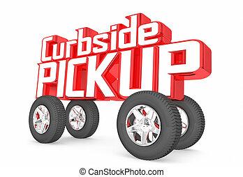 voiture, curbside, mots, pick-up, service, magasin, ordre, livraison, illustration, 3d