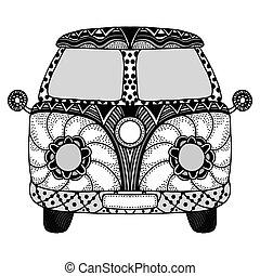 voiture d'époque, a, mini fourgon