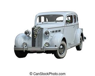 voiture d'époque, isolé, retro, mariage, blanc, rêve, luxe