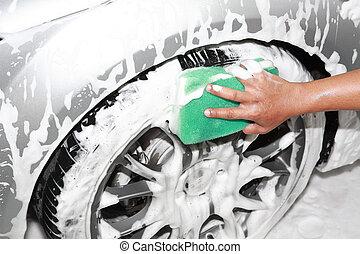 voiture, détailler, laver