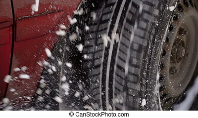 voiture, dû, lourd, problèmes, neigeux, conditions., road., hiver, temps, mauvais, snowfall., conduite, roue