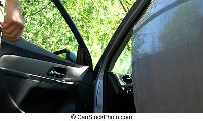 voiture, dehors, vient, homme