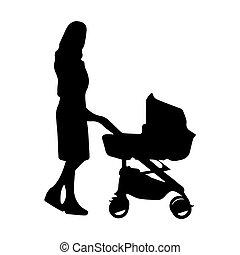 voiture d'enfant, femme, silhouette