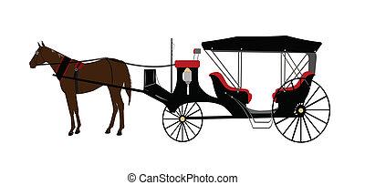 voiture, dessiné, cheval