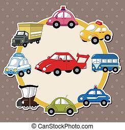 voiture, dessin animé, carte
