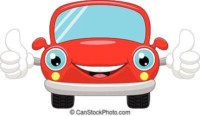 voiture, dessin animé, donne, haut, pouces