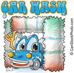 voiture, dessin animé, laver