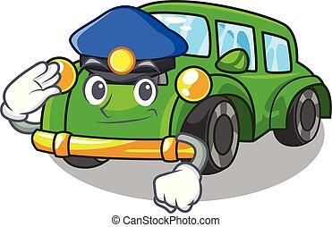 voiture, dessin animé, police, isolé, classique
