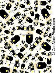 voiture, dessin animé, police, modèle, policier