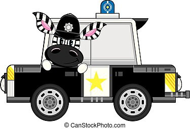 voiture, dessin animé, police, zebra, policier