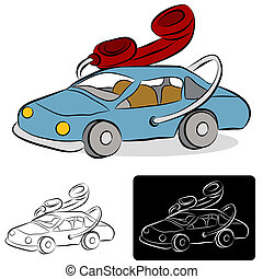 voiture, dessin ligne, téléphone