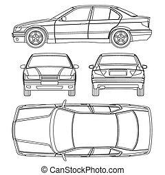 voiture, dessin ligne
