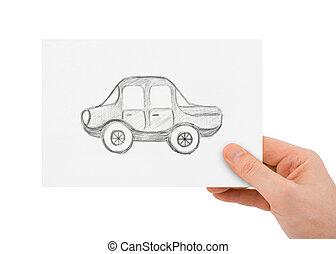 voiture, dessin, main